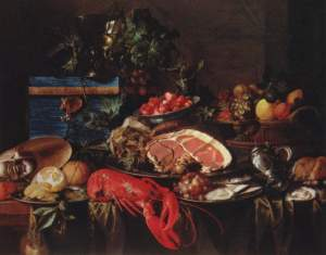 Jan Davidszoon de Heem, Still Life with Fruit and Ham, 1648-49