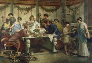 Roberto Bompiani ,A Roman Feast, late 1800s