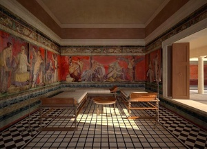 Digital reconstruction of the triclinium of the Villa of the Mysteries, Pompeii, 79 AD, Getty