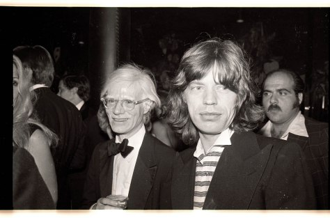 Gene Spatz, Andy Warhol and Mick Jagger at the reopening of the Copacabana club. 10/14/76