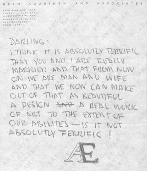 Correspondence from Eero Saarinen to Aline, 1954. Courtesy of the Smithsonian.