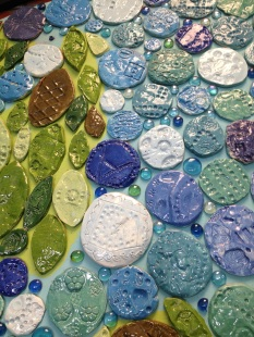 Finished glazed clay tiles