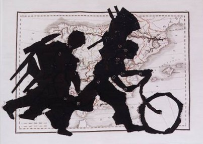 "William Kentridge, Porter Series: Espagne et Portugal, 2004, 99 x 130"" Stephens Tapestry Studio, Johannesburg. (Courtesy: Marian Goodman Gallery, New York)"