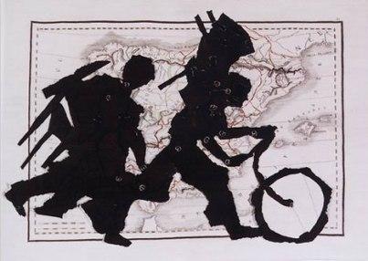 "William Kentridge, Porter Series: Espagne et Portugal, 2004, 99 x 130"" Stephens Tapestry Studio, Johannesburg. (Courtesy: Marian Goodman Gallery, New York)"